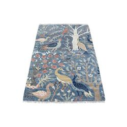 3'1x5' Denim Blue Peshawar Birds Of Paradise Pure Wool Hand Knotted Rug G67062