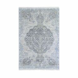 6and039x9and0392 Silk And Textured Wool Tree Of Life Meditation Design Hand Made Rug G66355