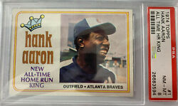 1974 Topps Hank Aaron All-time Hr King 1 Psa 8 Nm-mt