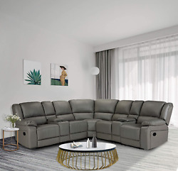 Hommoo Recliner Sofa Set Pu Leather Sofa And Couch, Corner Sectional Sofa With C
