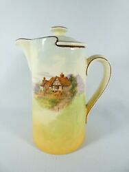 Antique Art Deco Royal Doulton Country Cottage Tall Hot Water Coffee Pot D3647