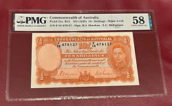 Commonwealth Australia 10 Shillings Bank Note 1939 Pmg 58 About Unc Pick 25a R12