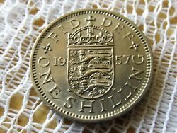 1957 Uk Great Britain One Shilling English Crest Coin England 1 Shilling
