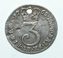Rare Antique 1763 British George Iii 3 Pence Coin Sterling Silver Charm, Genuine