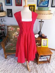 Retro Dress Polka Dot Red A-line M L Pinup Rockabilly 1940 40s Style Hell Bunny