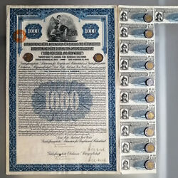 Germany German Gold Bond + Cupons Good Hope Steel And Iron Works 1000 Loan 1925
