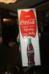 Things Go Better With Coke Coca Cola Fishtail 18 X 54 Embossed Metal Sign