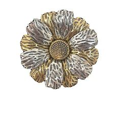 Vtg Brooch Pin Flower Daisy Antiqued Brass Metal With Silver Tone Metal 2.5