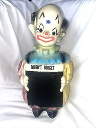 Rare Vintage American Bisque Chalkboard Clown Cookie Jar 13 1/2 Tall 1940/50and039s