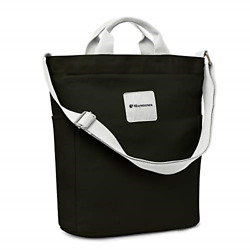 Canvas Tote Bag With Zipper And Pockets Casual Crossbody School Planner Hobo For $28.24