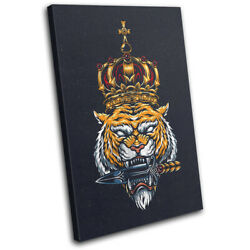 Tattoo Tiger King Dagger Vintage Single Canvas Wall Art Picture Print