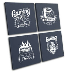 Gamer Online Old School Retro Gaming Multi Canvas Wall Art Picture Print