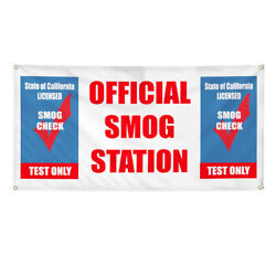 Vinyl Banner Multiple Sizes Official Smog Station Check Test Automotive Outdoor