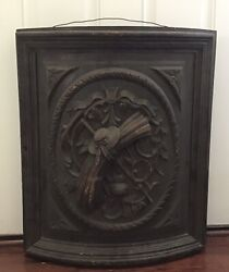 Antique 17th/16th Century Carved Wooden Panel Part Of A Chest Large And Heavy