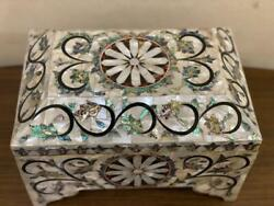 Antique Handmade Wood Jewelry Box Inlaid Shell Tortoise Back And Copper