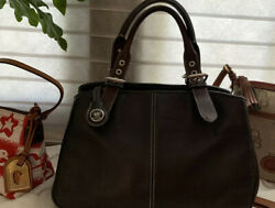 Dooney And Bourke 2 Tone Brown Pebbled All Weather Grain Leather 3 Section Satchel