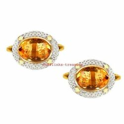Natural Citrine Gemstone 925 Sterling Silver Gold Plated Cufflinks For Menand039s