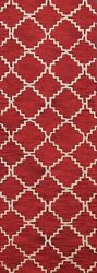 Trellis Contemporary Oriental Runner Rug Wool Hand-tufted Red Carpet 2and039 7x8and039 0