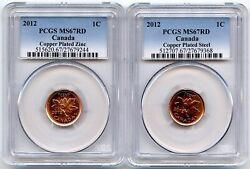 2012 Canada Pcgs Ms67 Rd Copper Plated Zinc And Copper Plated Steel One Cent Set