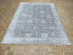 8'2 X 9'10 Hand Knotted Gray Turkish Bamboo Silk Oushak Oriental Rug G9408