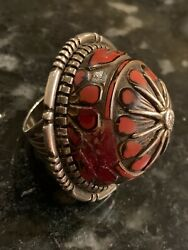 Navajo Harold Yazzie Coral Inlay Sterling Silver Done Top Huge Ring Size 9.5