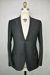 Recent Canali Grey W/ Navy And Brown Striped Micro Herringbone Wool Suit 40 R