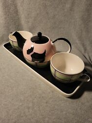 """Huesnbrews - """"tea For Two Set"""" - """"scotty"""" - 5 Pc Set In Org Box -"""