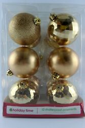 12 New Large Shatterproof Gold Christmas Ornaments Faceted, Satin, And Sparkly