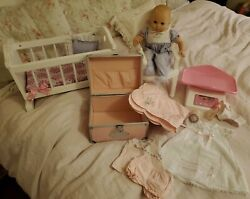 American Girl Bitty Baby Doll+crib Bottle Accessories Pink Trunk Collection Lot