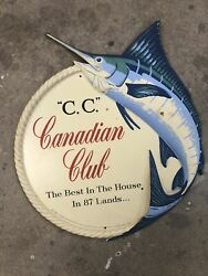Canadian Club Whiskey Vintage Sign With Nice Mancave 14andrdquo Round
