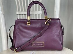 Marc By Marc Jacobs Too Hot To Handle Purple Leather Satchel Crossbody Small-med