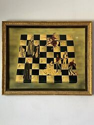 1963 Vintage Figurative Checkerboard Oil Painting Knights Queen Horse Historical