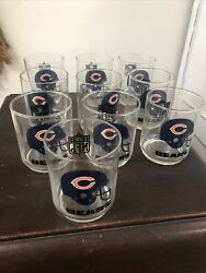 10- Vintage 80s Chicago Bears Nfl Drinking Glasses Cup Mobil