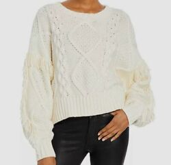 175 Line And Dot Womenand039s White Crew-neck Cable-knit Sweater Sweatshirt Size M