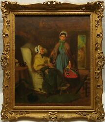 John Haynes Williams 19th C. Original Antique Interior Genre Scene Oil Painting