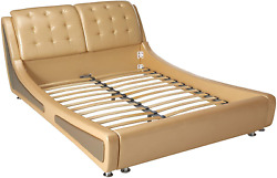 Container Direct Queen Size Platform Bed Pearl Gold/gray