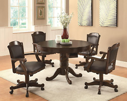 Coaster Home Furnishings Turk 5-piece Round Game Table Dining Set Tobacco And Bl