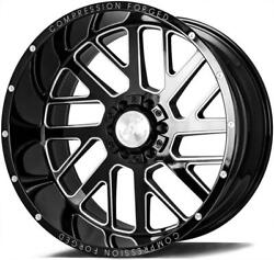 24x14 Axe 2.0 Compression Forged Gloss Black Milled Wheels 8x170 Ford F250 F350