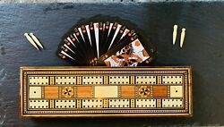 Sublime 19thc Mahogany Cribbage Board With Marquetry