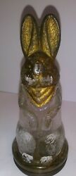 Antique Marked Avor Co Glass Mold Rabbit Candy Container Original Tin Lid Bottom