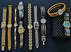 10p Lot Vintage Fashion Ladies Watches Elgin, Citizen, Akii Gold And Silver Tone