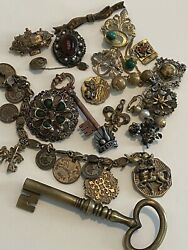 Lot Of Vintage Antiqued Brass Tone Brooches ,charm Bracelet And Findings