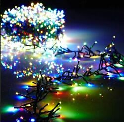 19.6' Christmas Cluster Lights With 600 Multi Color Led Garland - Green Wire Raz