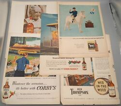 Vtg Whiskey Ads Old Grand-dad, Corby's, White Horse, Four Roses, Old Thompson