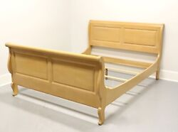 Ethan Allen French Country Pickled Distressed Queen Sleigh Bed