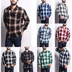 Men#x27;s Western Casual Old School Plaid Flannel Long Sleeve Button Up Shirt Y2000