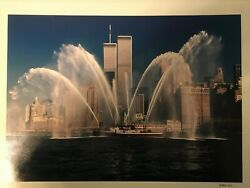 Vintage Twin Tower Picture With Fire Boat Autographed By A. Weitz Photographer
