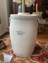 Vintage Ceramic Stoneware Butter Churn Crock W/lid And Paddle - Red Handles