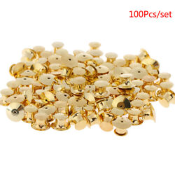 100pcs/set Gold Low Profile Locking Pin Backs Keepers For All Pin Post Pins 3t