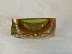 Vintage Mcm Murano Sommerso Geode Crystal Ashtray